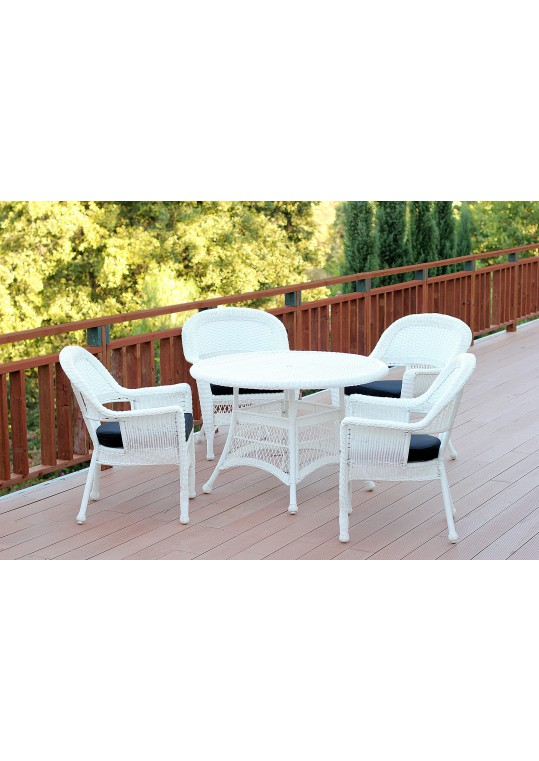 5pc White Wicker Dining Set - Black Cushions