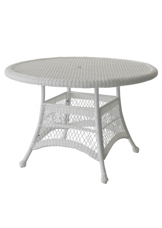 "White Wicker 44"" Round Dining Table"