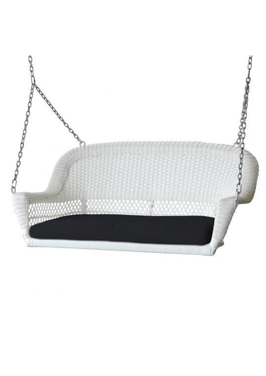 White Resin Wicker Porch Swing with Black Cushion