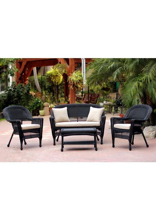 4pc Black Wicker Conversation Set - Tan Cushion