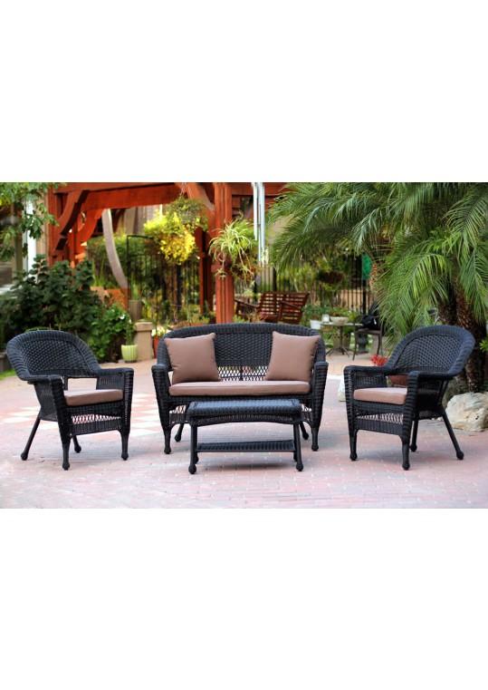 4pc Black Wicker Conversation Set - Brown Cushions