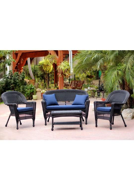 4pc Black Wicker Conversation Set - Blue Cushions