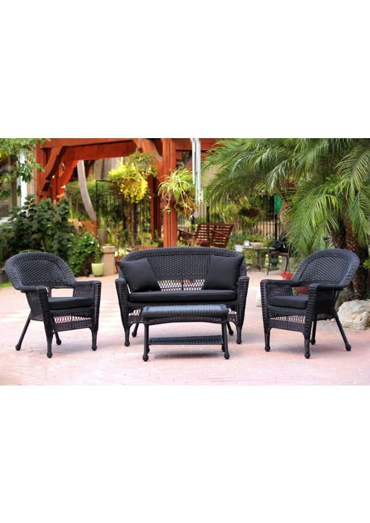 4pc Black Wicker Conversation Set - Black Cushions