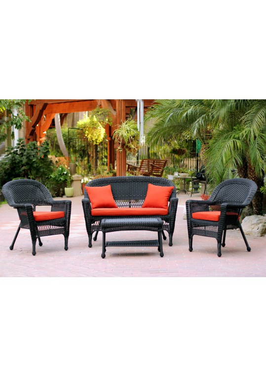 4pc Black Wicker Conversation Set - Brick Red Cushions