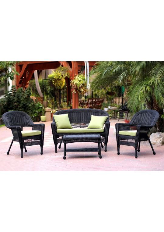 4pc Black Wicker Conversation Set - Green Cushions