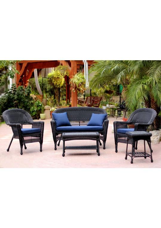 5pc Black Wicker Conversation Set - Blue Cushions