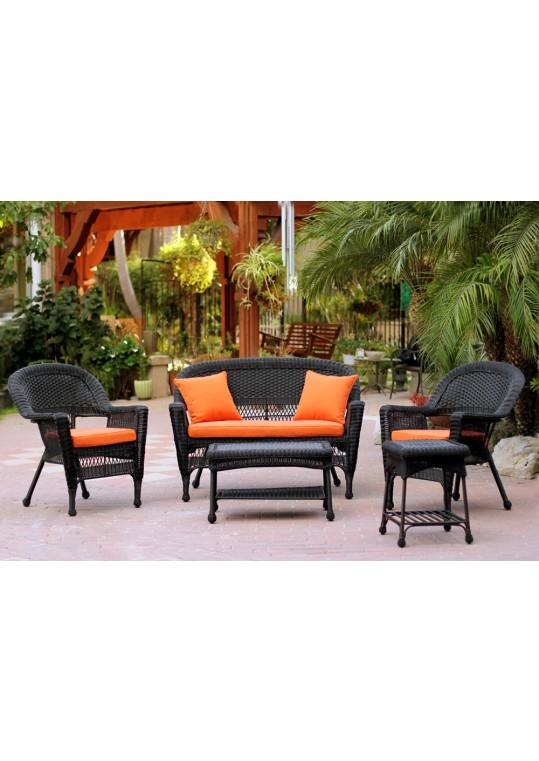 5pc Black Wicker Conversation Set - Orange Cushions