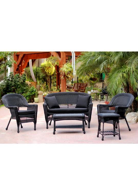 5pc Black Wicker Conversation Set - Black Cushions