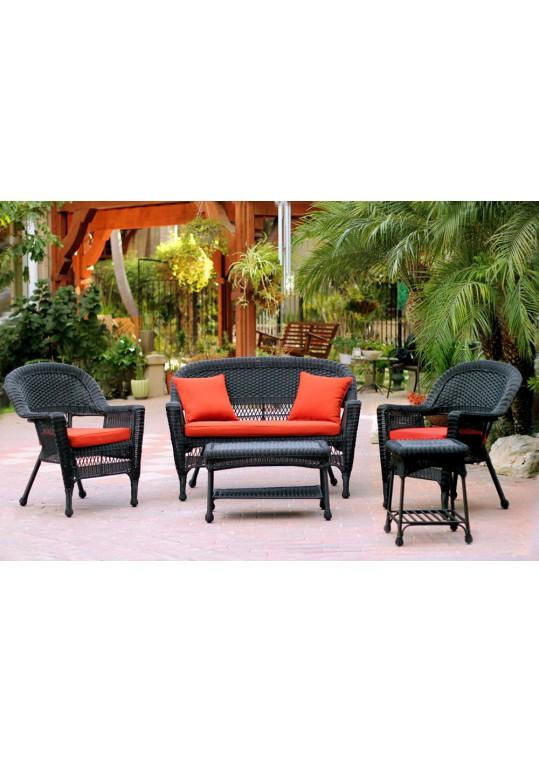 5pc Black Wicker Conversation Set - Brick Red Cushions
