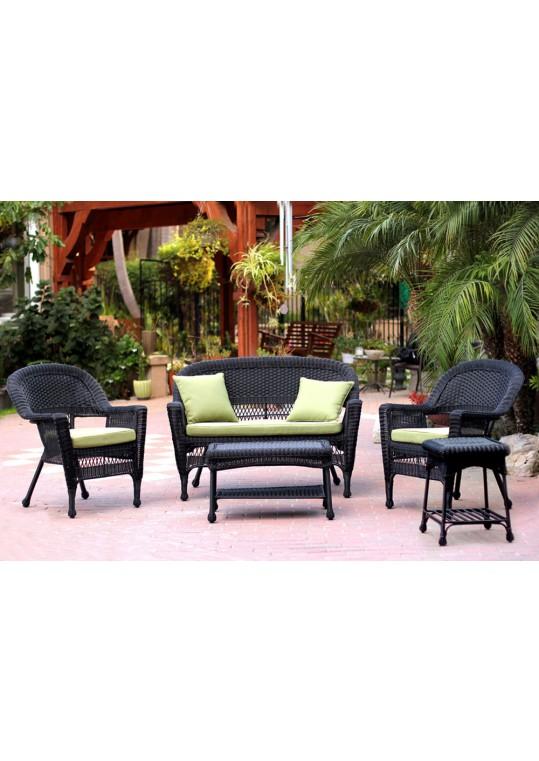 5pc Black Wicker Conversation Set - Green Cushions