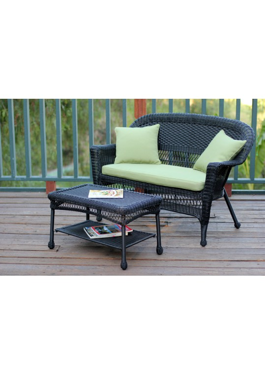 Black Wicker Patio Love Seat And Coffee Table Set With Green Cushion
