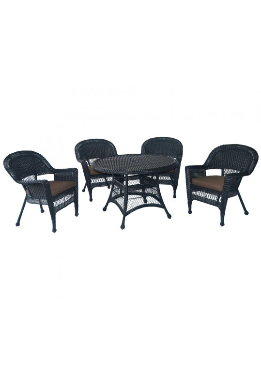 5pc Black Wicker Dining Set - Brown Cushions