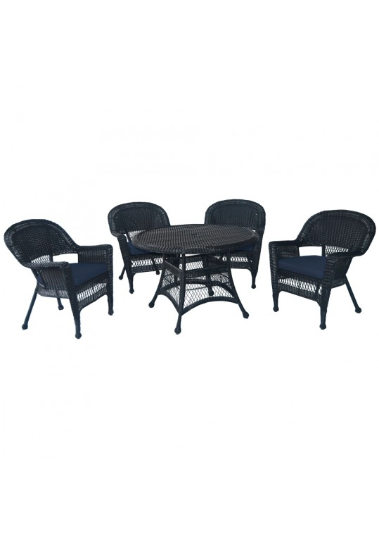 5pc Black Wicker Dining Set - Midnight Blue Cushions