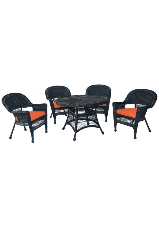 5pc Black Wicker Dining Set - Orange  Cushions