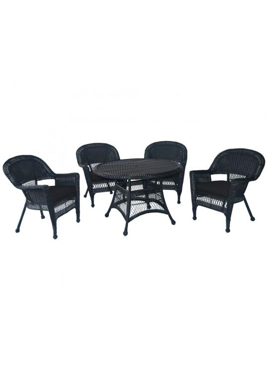 5pc Black Wicker Dining Set - Black Cushions