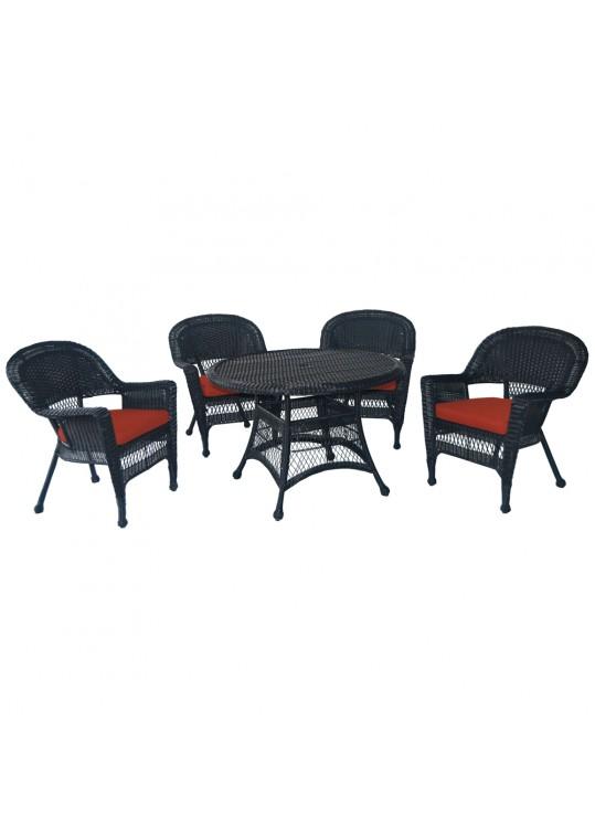 5pc Black Wicker Dining Set - Brick Red Cushions