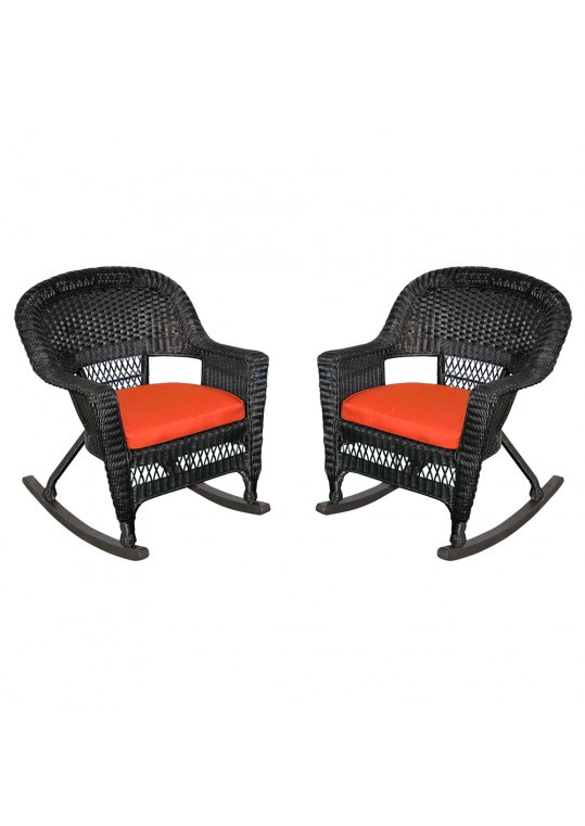 black rocker wicker chair with red cushion set of 2
