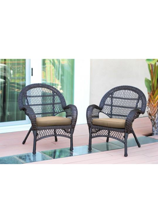 Santa Maria Espresso Wicker Chair with Tan Cushion - Set of 2