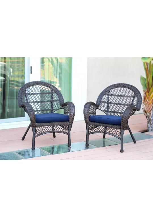 Santa Maria Espresso Wicker Chair with Blue Cushion - Set of 2