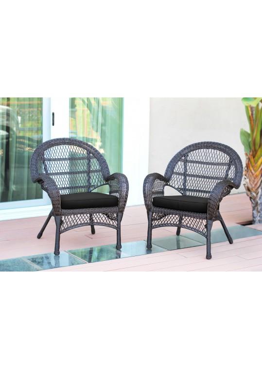 Santa Maria Espresso Wicker Chair with Black Cushion - Set of 2