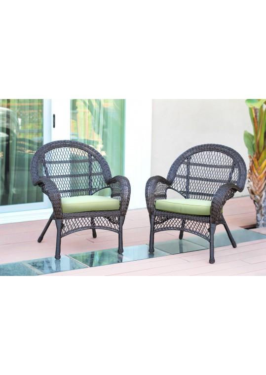 Santa Maria Espresso Wicker Chair with Green Cushion - Set of 2
