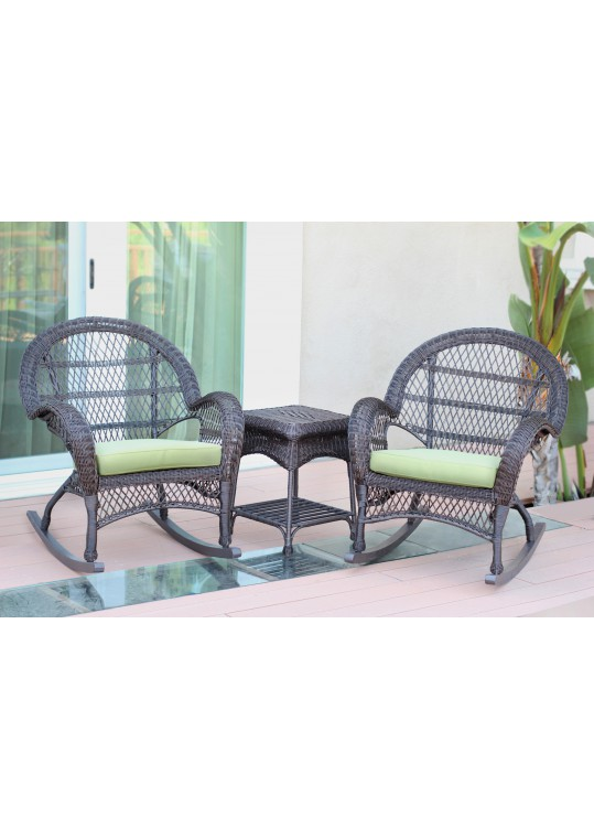 3pc Santa Maria Espresso Rocker Wicker Chair Set - Sage Green Cushions