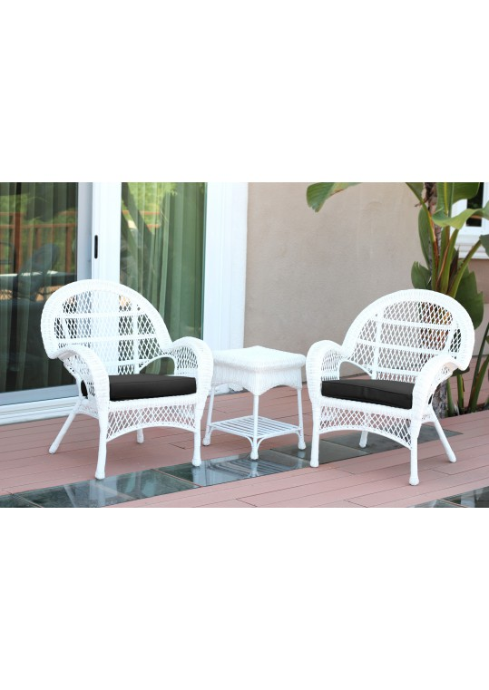 3pc Santa Maria White Wicker Chair Set - Black Cushions