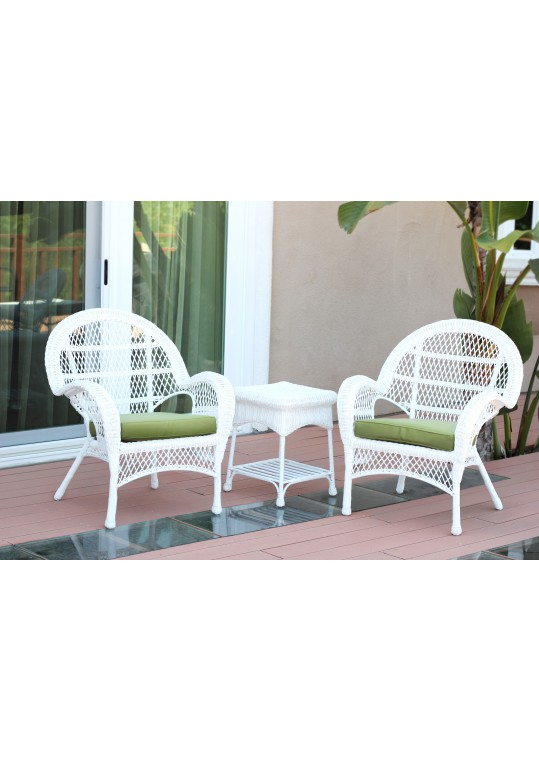 3pc Santa Maria White Wicker Chair Set - Sage Green Cushions
