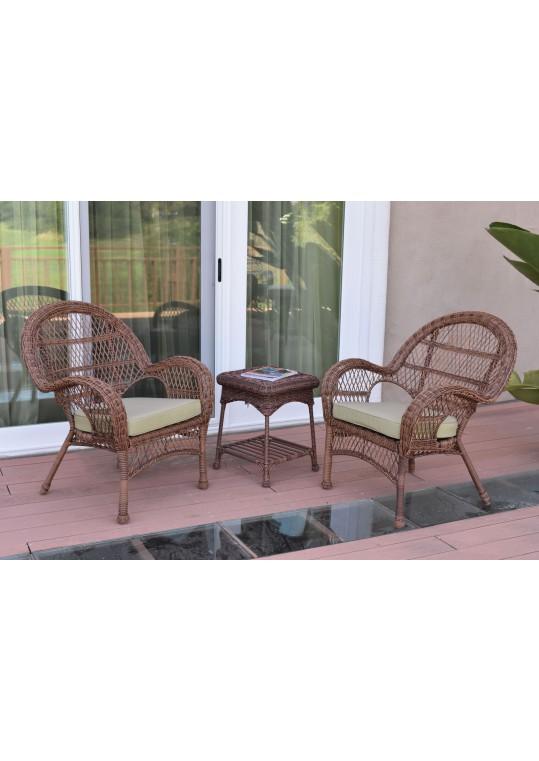3pc Santa Maria Honey Wicker Chair Set - Tan Cushions
