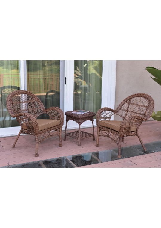 3pc Santa Maria Honey Wicker Chair Set - Brown Cushions