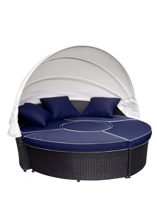 All-Weather Wicker Sectional Daybed - Blue Cushions