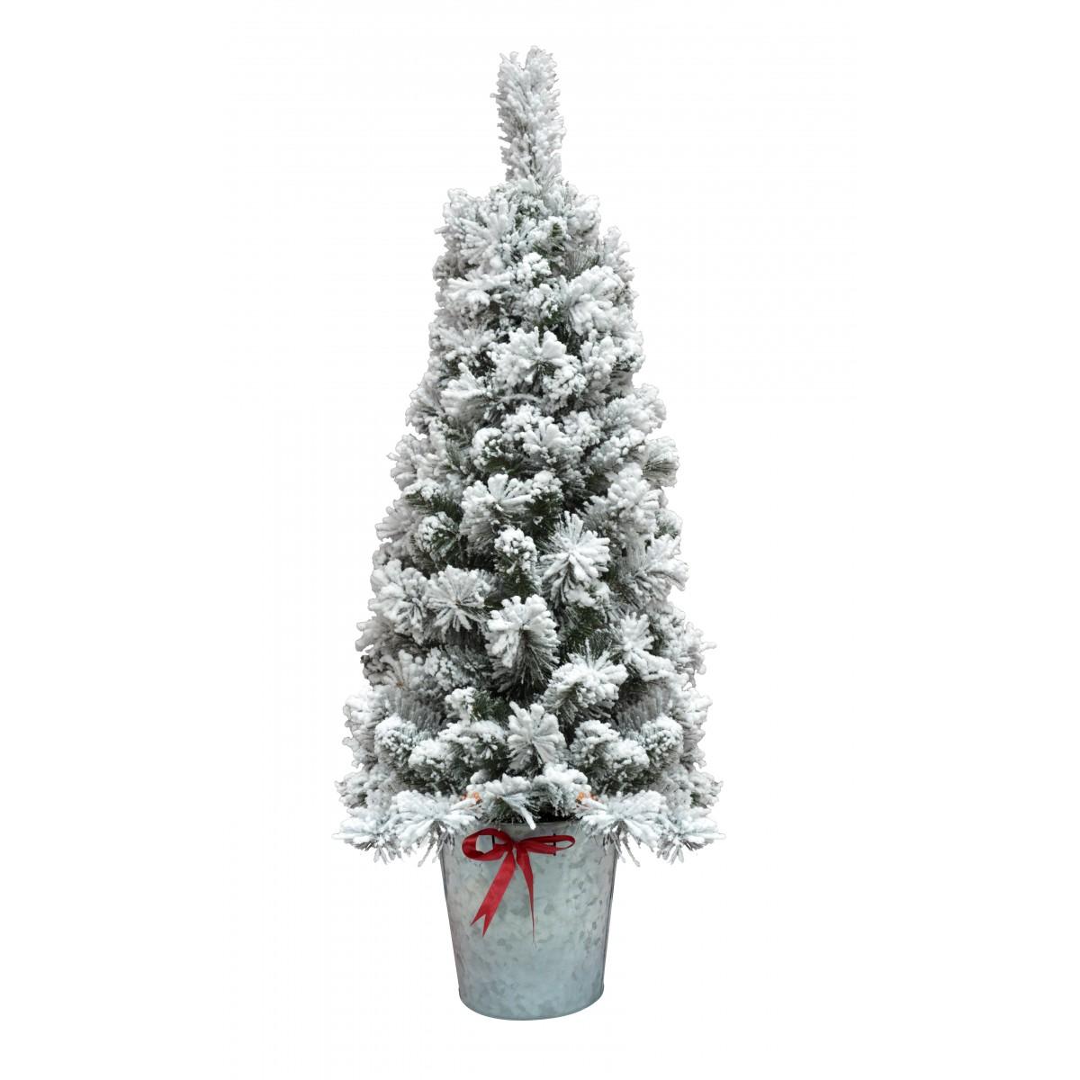 4ft Christmas Tree.4ft Flocked Pot Christmas Tree