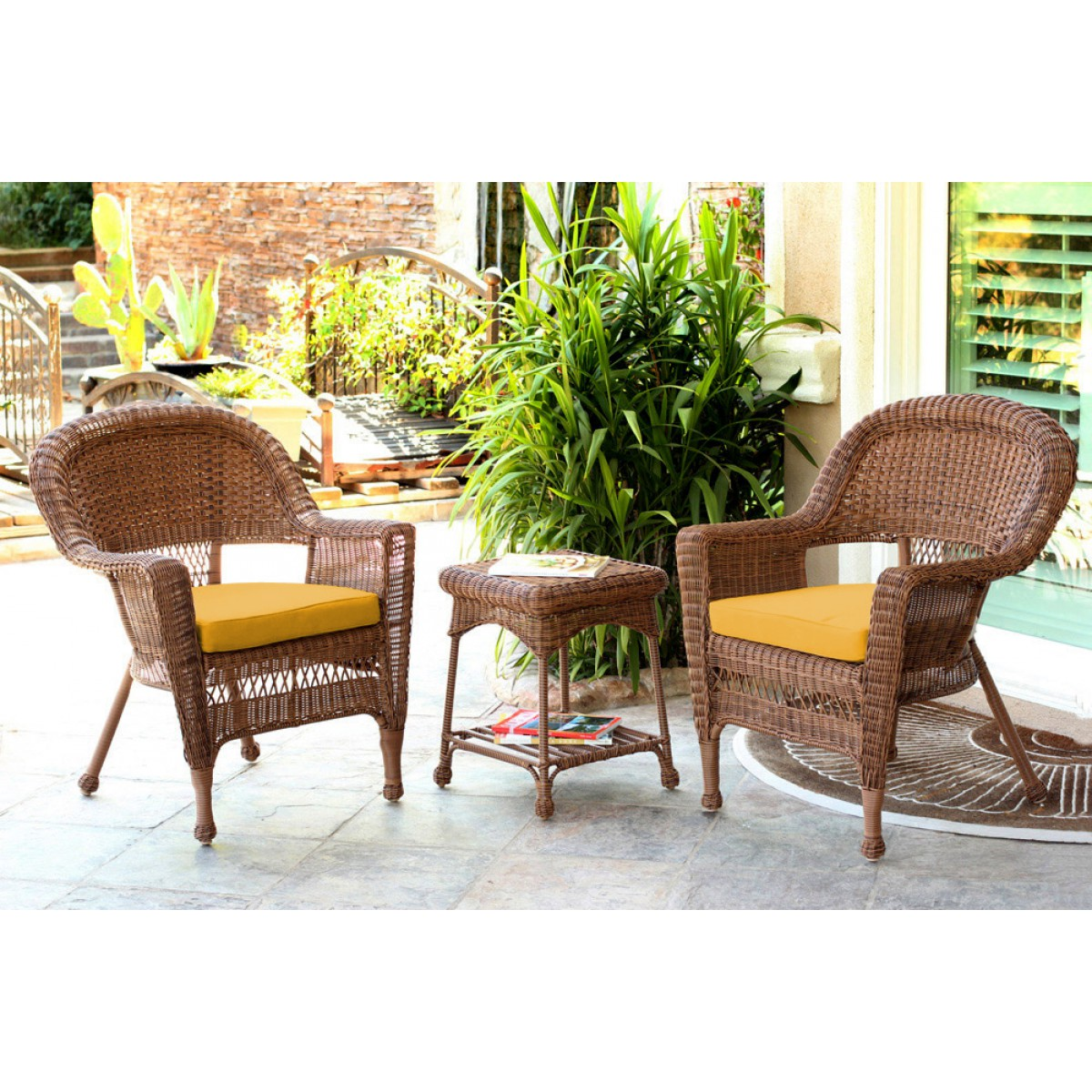 Honey Wicker Chair And End Table Set With Mustard Chair Cushion