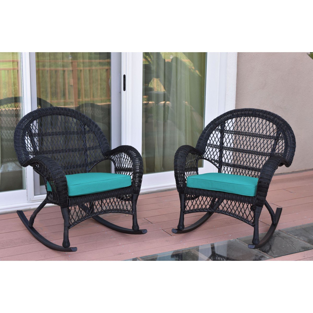 Picture of: Santa Maria Black Wicker Rocker Chair With Turquoise Cushion Set Of 2