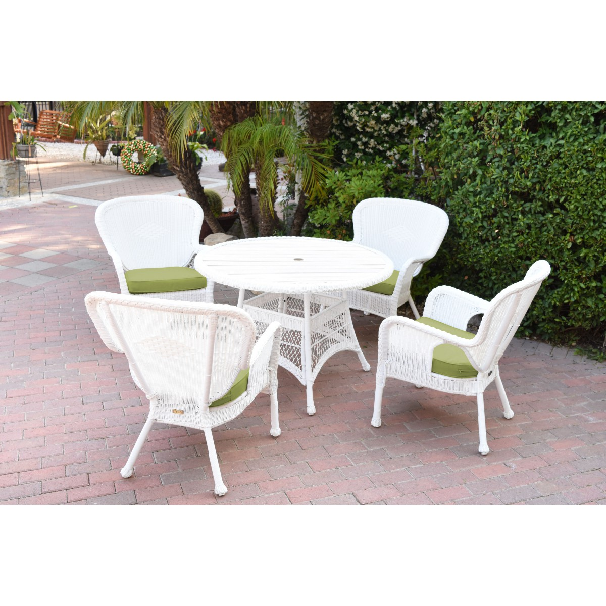 White Wicker Dining Chairs: 5pc Windsor White Wicker Dining Set With Faux Wood Top And