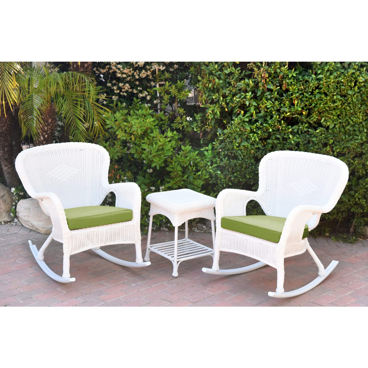 Windsor White Wicker Rocker Chair And End Table Set With Hunter