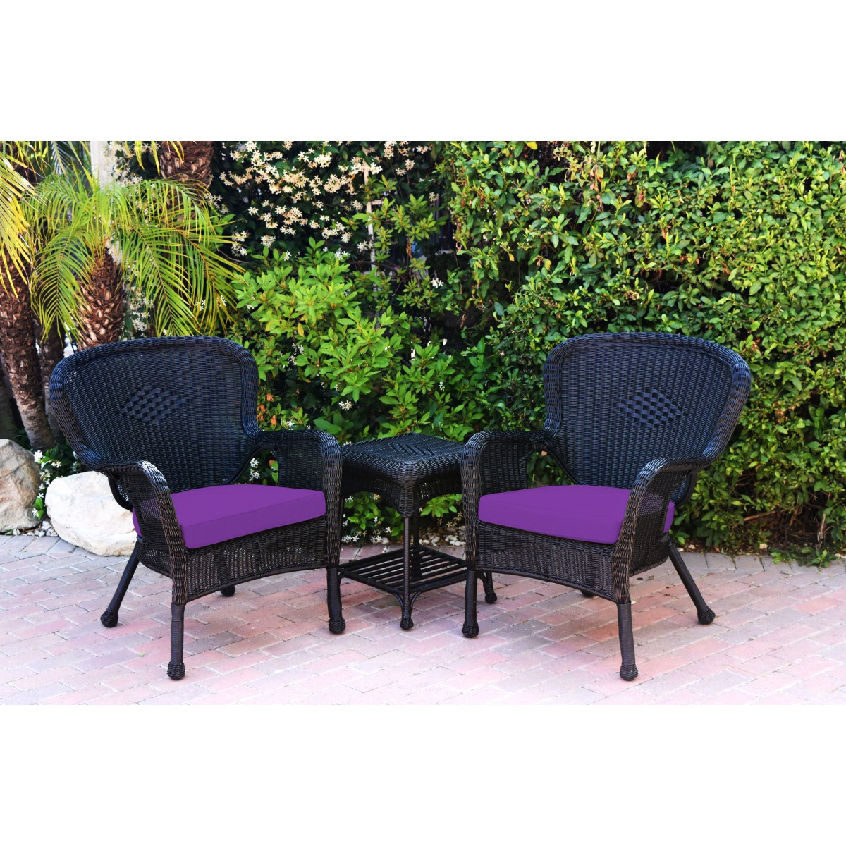 Windsor Black Wicker Chair And End Table Set With Purple Chair