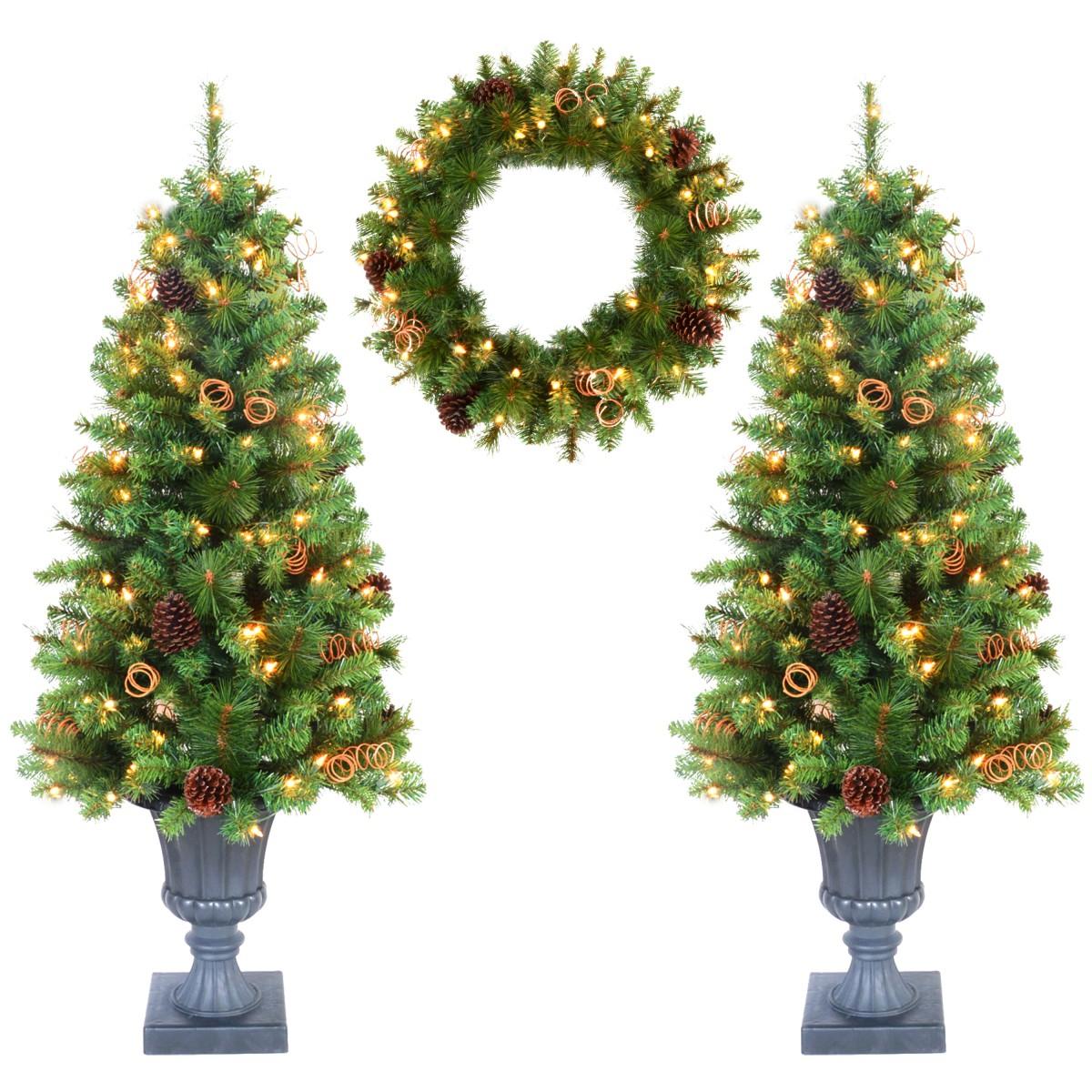 4ft Christmas Tree.3 Piece 4ft Christmas Tree And Holiday Wreath Set