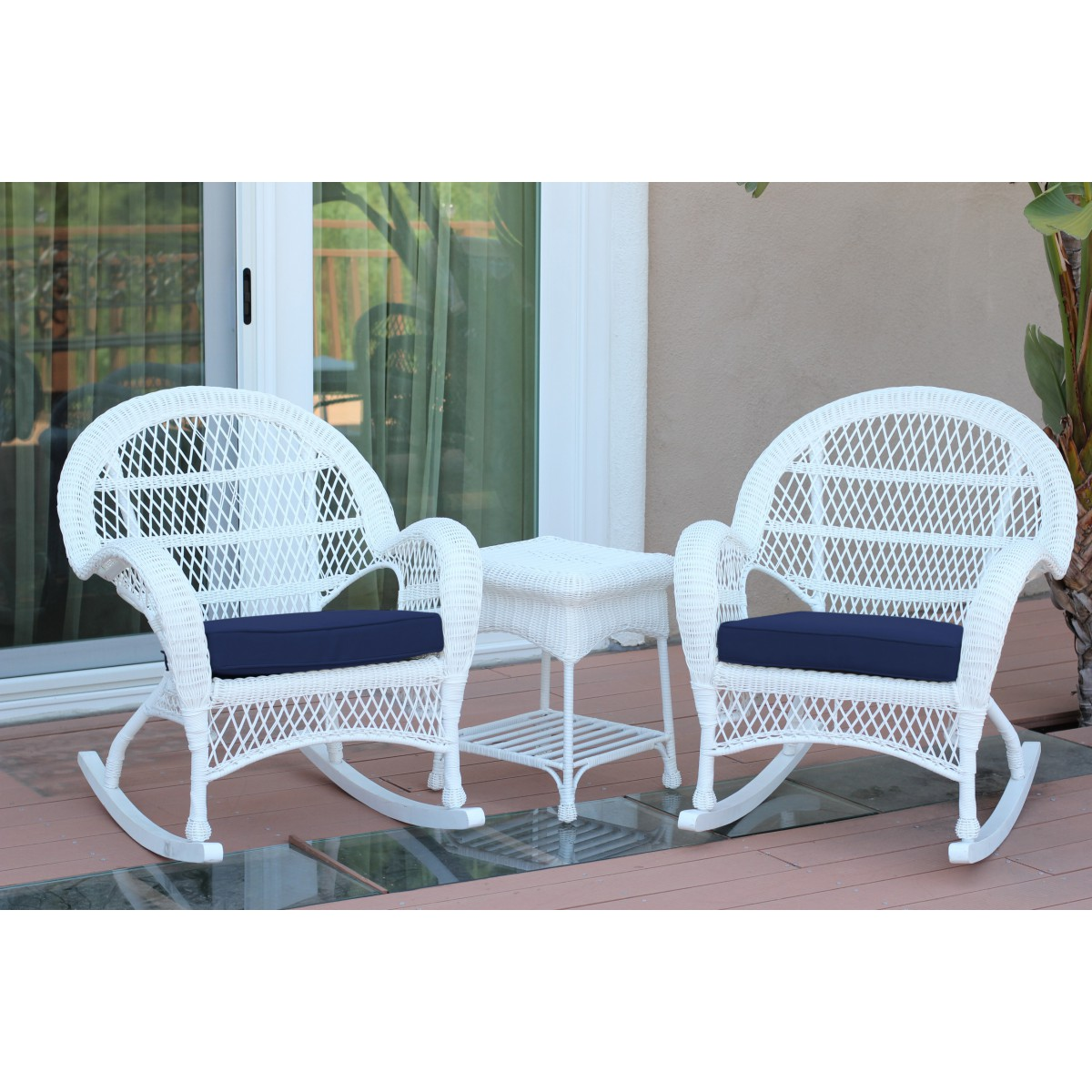 3pc Santa Maria White Rocker Wicker Chair Set Midnight Blue Cushions