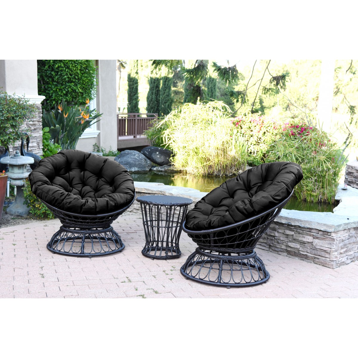 Groovy Papasan Espresso Wicker Swivel Chair And Table Set With Black Cushions Evergreenethics Interior Chair Design Evergreenethicsorg
