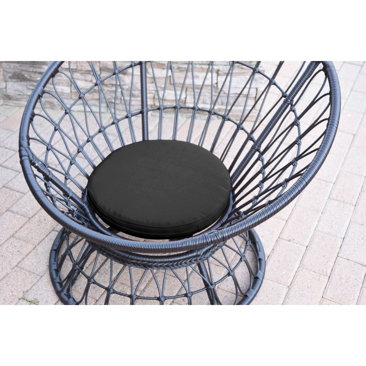 Papasan Espresso Wicker Swivel Chair And Table Set With