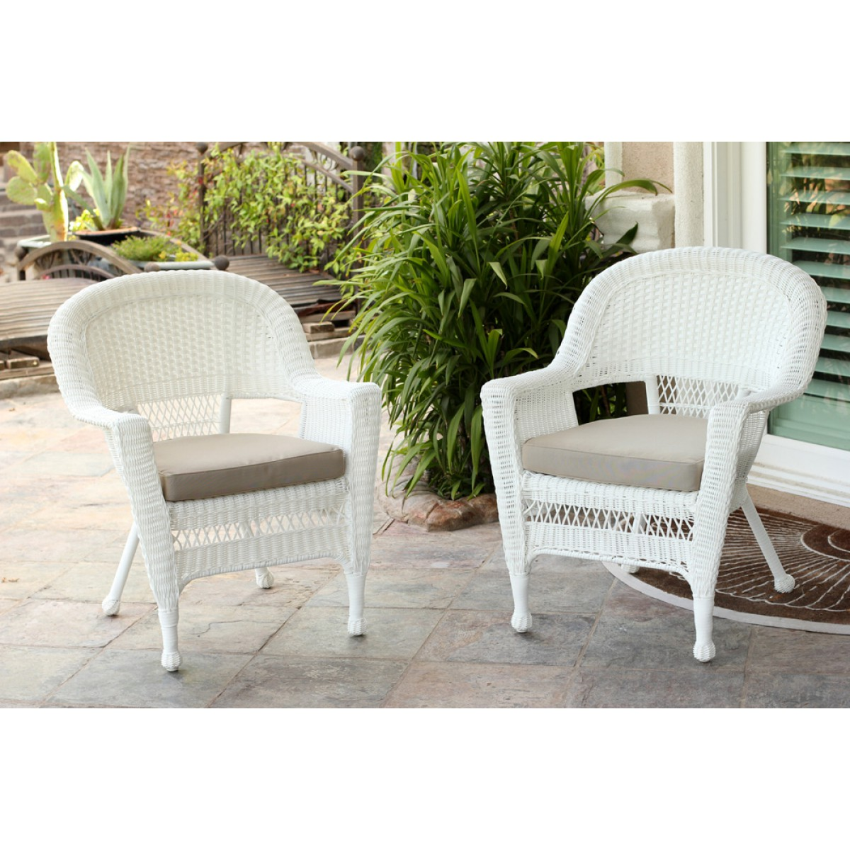 White Wicker Chair With Tan Cushion   Set of 10