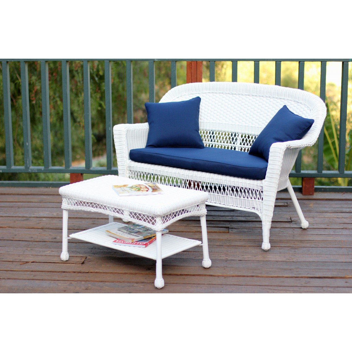 White Wicker Patio Love Seat And Coffee Table Set With