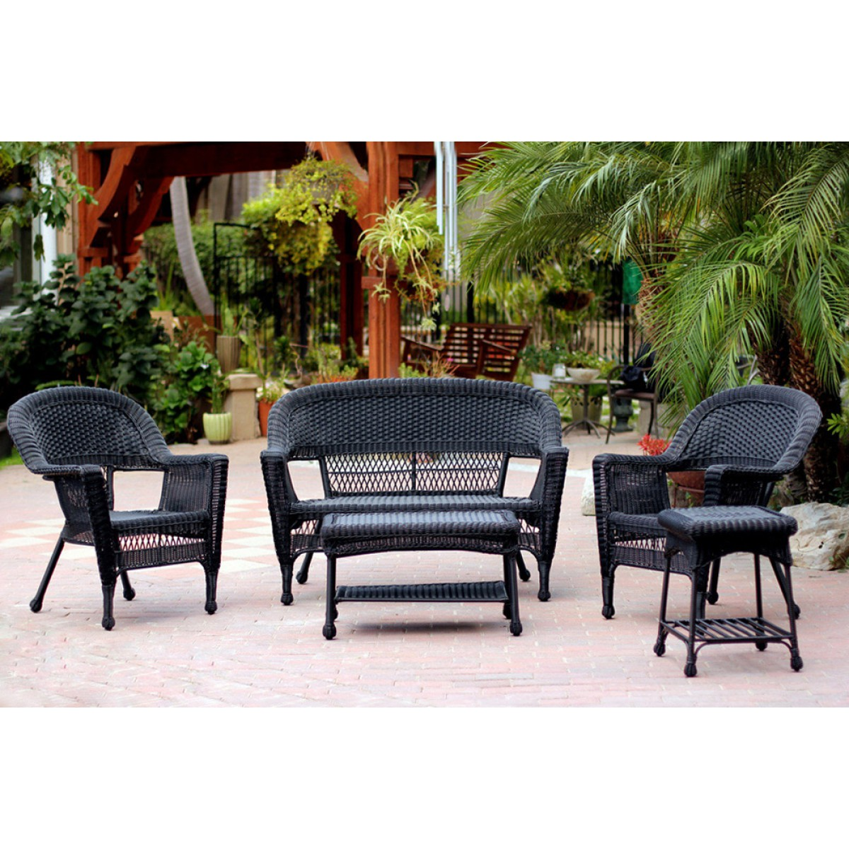 5pc Black Wicker Conversation Set Without Cushion