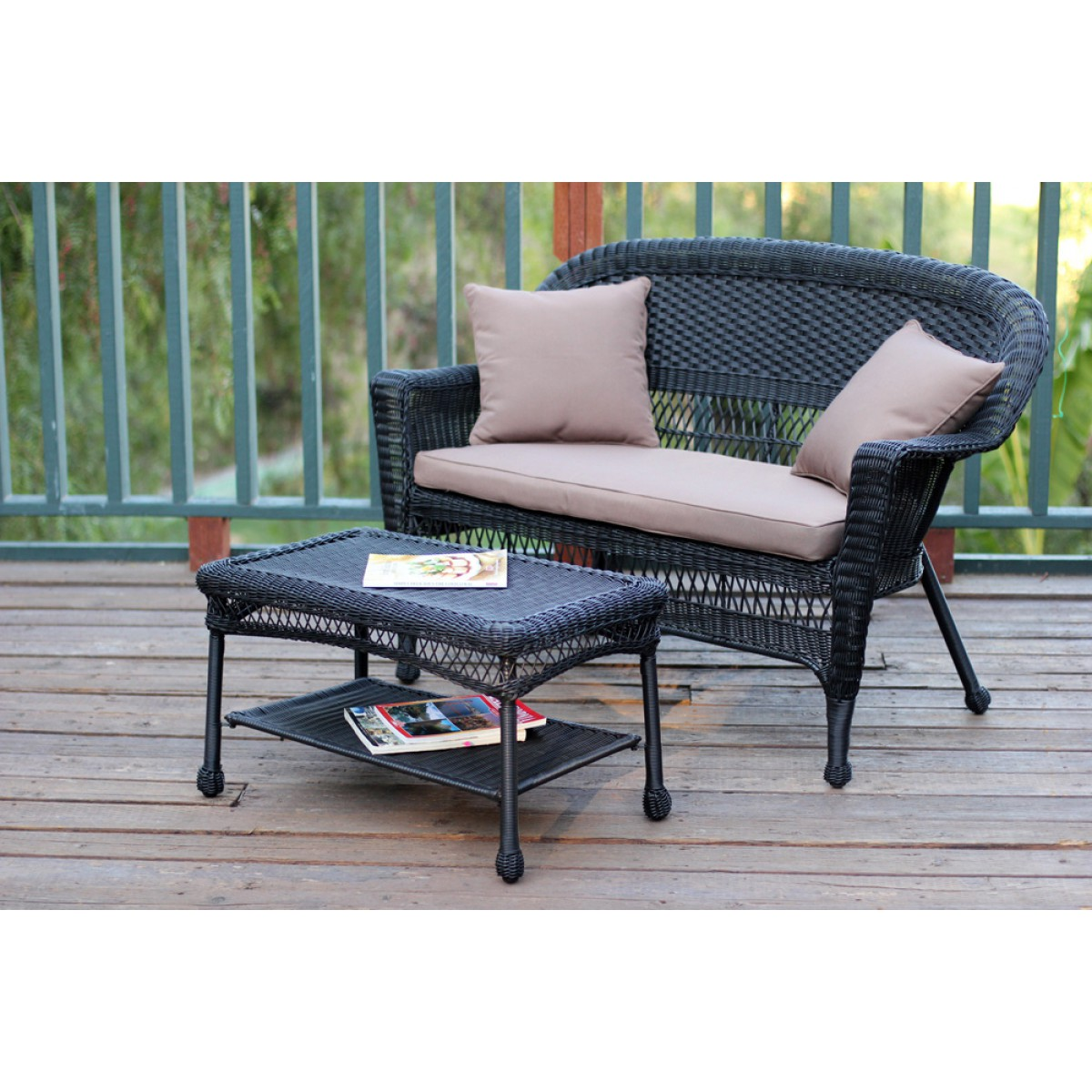 Black Wicker Coffee Table: Black Wicker Patio Love Seat And Coffee Table Set With