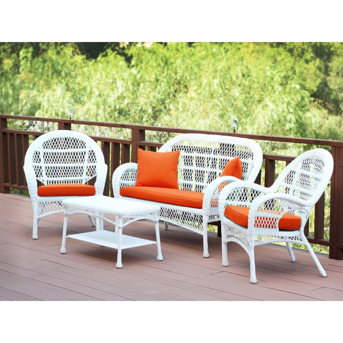 4pc Santa Maria White Wicker Conversation Set Orange Cushions