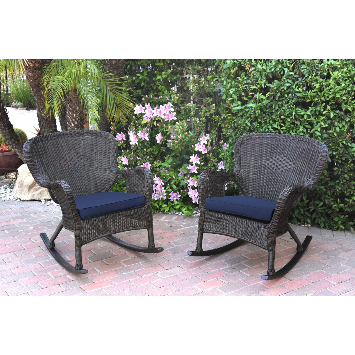 Marvelous Set Of 2 Windsor Espresso Resin Wicker Rocker Chair With Midnight Blue Cushions Cjindustries Chair Design For Home Cjindustriesco