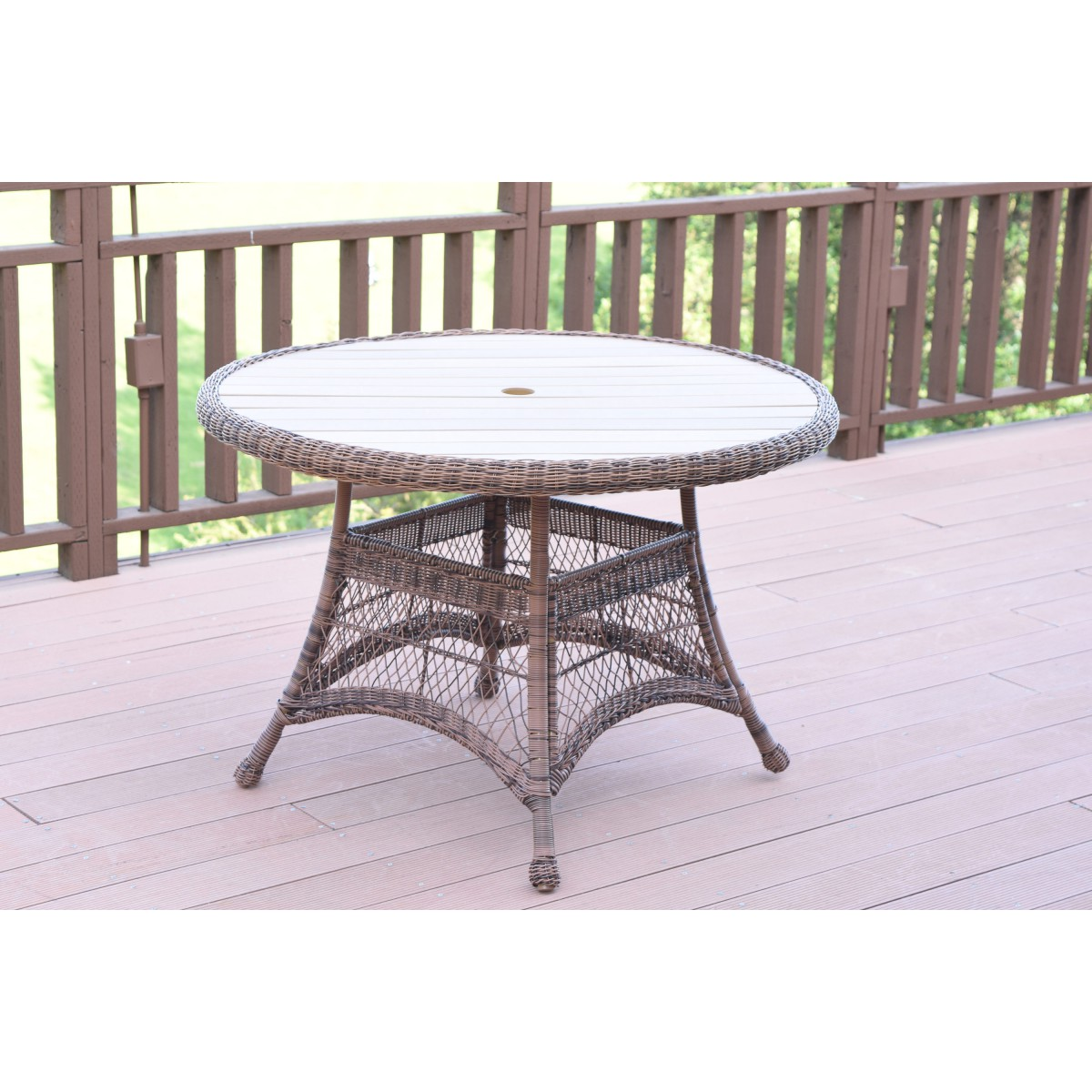 Honey Wicker 44 Quot Round Dining Table With Faux Wood