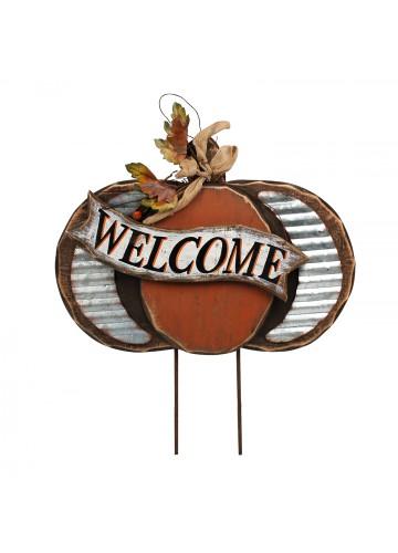 Harvest Wood Pumpkin Stake-Welcome