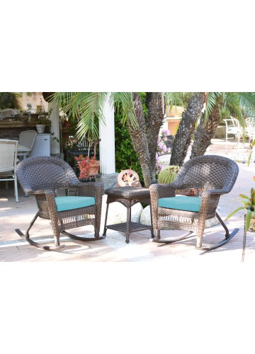 3pc Espresso Rocker Wicker Chair Set With Sky Blue Cushion